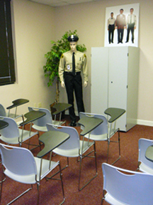 Training room where Phelps offers training curriculum that includes civil liability, first aid procedures, ethics and conduct, observation and patrol techniques, fire response, crime prevention, and crime scene protection.